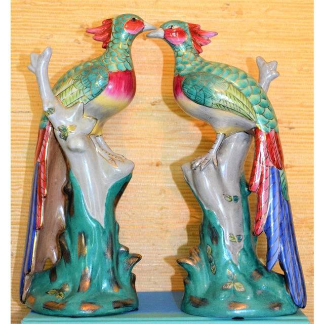 Chinese Export Porcelain Pheonix Bird Figurines - a Pair For Sale - Image 13 of 13