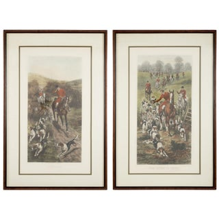 """""""Fox Hunting"""" Hand Colored Period Engravings - a Pair For Sale"""