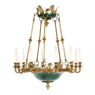 Empire Style Lacquered Metal / Gilt Bronze Chandelier For Sale