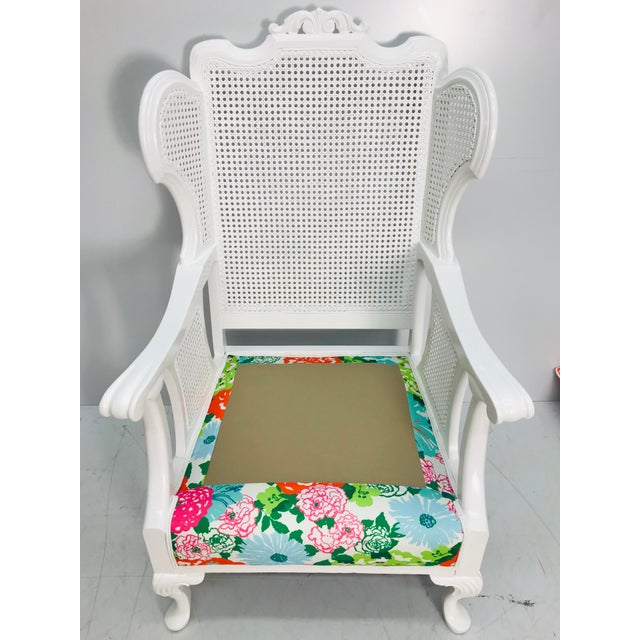 Wood Vintage Caned Wing Chair With Lilly Pulitzer Outdoor Fabric For Sale - Image 7 of 8
