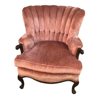 Vintage Rose Velvet Channel Back Wing Chair