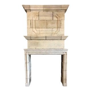 Louis XIV Limestone Mantel with Double Trumeau For Sale