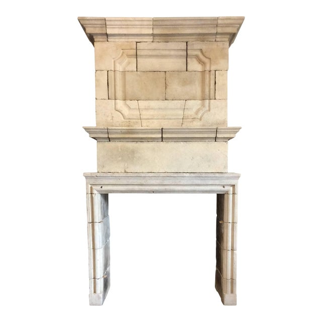 Louis XIV Limestone Mantel with Double Trumeau For Sale