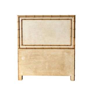 Twin Sized Tan Headboard With Faux Bamboo Finish and Molding For Sale