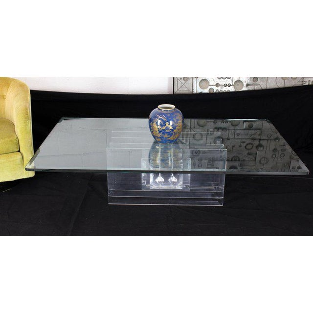 Large Rectangular Glass Top Thick Stack Lucite Blades Base Coffee Table For Sale - Image 12 of 12