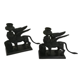 20th Century Art Deco Griffin Sculpture Candle Holder - a Pair For Sale