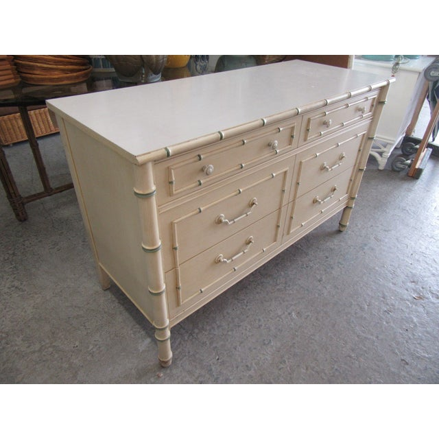 Chippendale Chippendale Palm Beach Faux Bamboo Double Dresser For Sale - Image 3 of 7