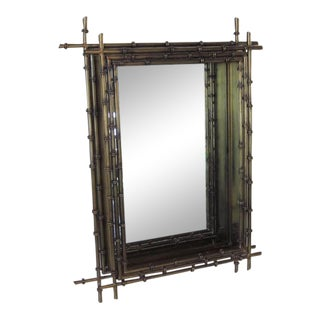 Curtis Jere Faux Gold Gilt Wall Mirror For Sale