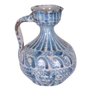 Small Antique Spanish Ceramic Fajalauza Pitcher For Sale