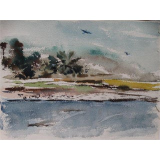 Pacific Theater War Beach Watercolor For Sale