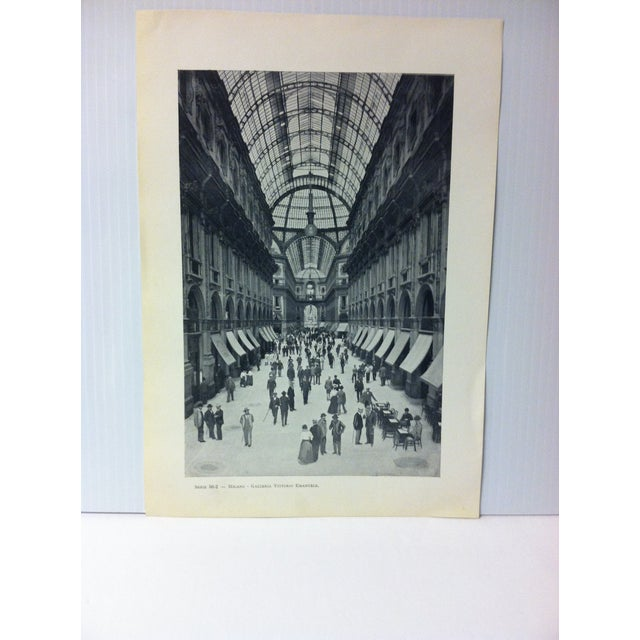 """This is a Vintage Print on Paper of Milano, Italy that is titled """"Galleria Vittorio Emanuele"""". The Print was Published in..."""