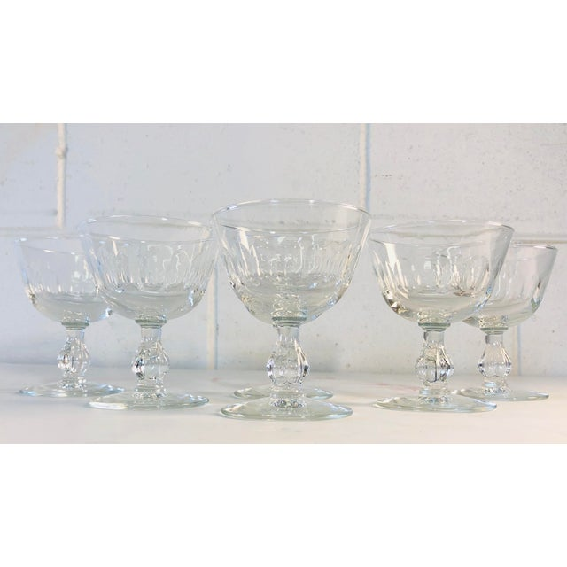 Glass 1950s Mitred Glass Coupe Stems, Set of 6 For Sale - Image 7 of 9