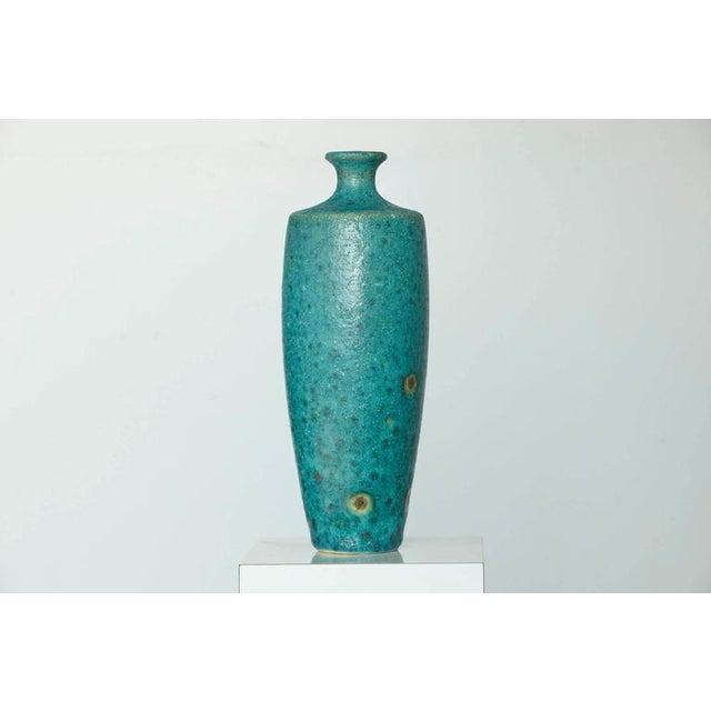 Guido Gambone Guido Gambone - Large Italian Modern Turquoise Blue Ceramic Vase For Sale - Image 4 of 8