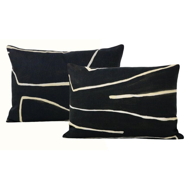 "Textile 12"" X 18"" Graffito Onyx + Beige Lumbar Pillows - a Pair For Sale - Image 7 of 7"