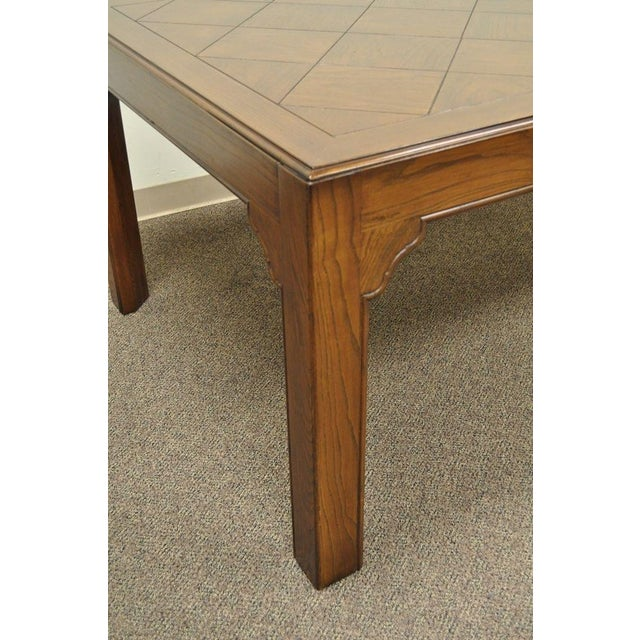 Vintage Henredon Four Centuries French Country Parquet Oak Dining Table - Image 10 of 11