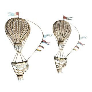 Antique Painted Brass Balloons - a Pair For Sale