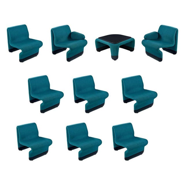 Jan Ekselius Style Modern Modular Teal Tweed Sectional Sofa Seating - Set of 10 For Sale - Image 13 of 13