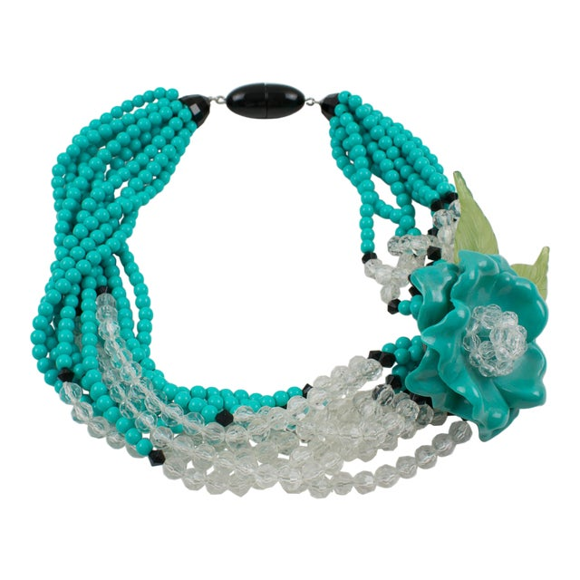 Angela Caputi Turquoise and Black Resin Necklace with Oversized Flower For Sale