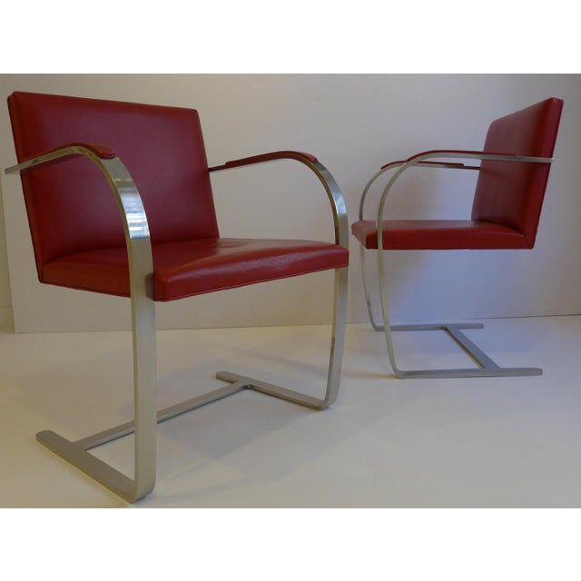 Pair of Brno chairs, designed originally by Mies van der Rohe for the Tugenhat house in 1929. Produced by Knoll, circa...