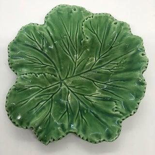 """Vintage Majolica """"Cabbage"""" Dark Green Leaf Salad or Serving Plate Preview"""