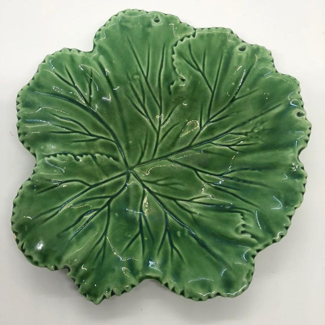 """Vintage dark green leaf Majolica in leaf motif marked """"Secla Portugal"""" on underside. Very tiny and barely noticeable 3mm..."""
