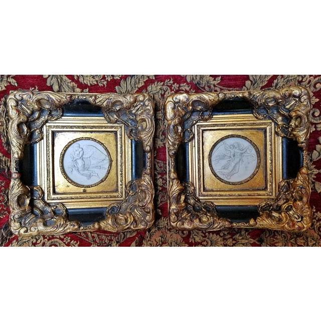 19th Century Russian Framed Marble Plaques Ft Angels- A Pair For Sale - Image 13 of 13