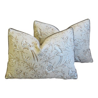 "Italian Scalamandre Aviary Bird & Velvet Feather/Down Pillows 23"" X 16"" - Pair For Sale"