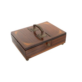 19th Century English Inlaid Walnut Gentleman Box For Sale