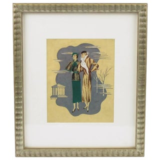 Edouard Halouze French Art Deco Fashion Illustration Drawing For Sale