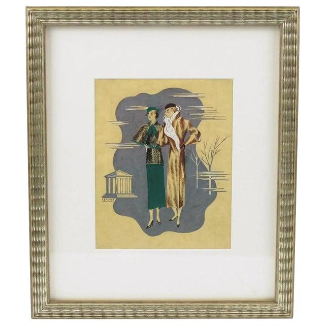 Edouard Halouze French Art Deco Fashion Illustration Drawing - Image 1 of 7