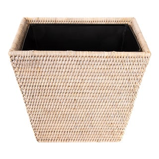 Artifacts Rattan Rectangular Waste Basket With Metal Liner For Sale