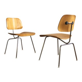 1970s Mid-Century Modern Charles Eames for Herman Miller Eames DCM Molded Plywood Chairs - a Pair