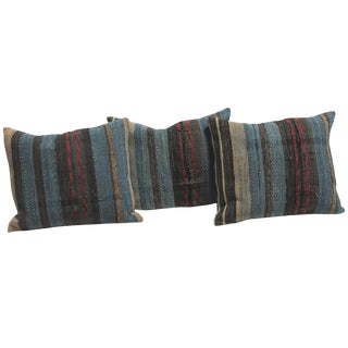 Group of Three 19th American Rag Rug Pillows For Sale