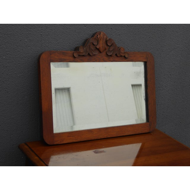 Antique Mid-Century Modern Federal Rustic Beveled Edge W Aged Silver Wall Mirror For Sale In Los Angeles - Image 6 of 13