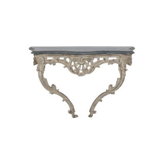 18th Century French Louis XV Period Console Table With Blue Turquin Marble Top For Sale