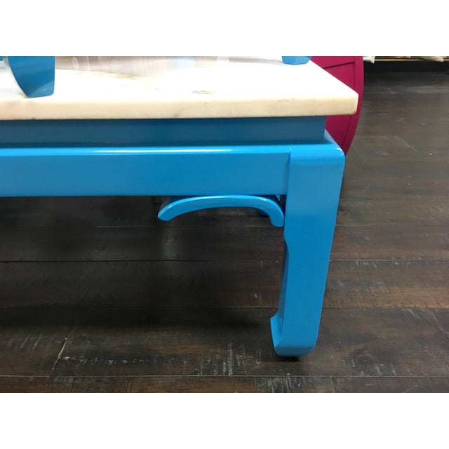 Wood 20th Century Ming Blue Chow Leg Marble Coffee Table For Sale - Image 7 of 11