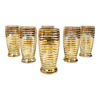 Mid Century Gold Striped Glasses - Set of 6 For Sale