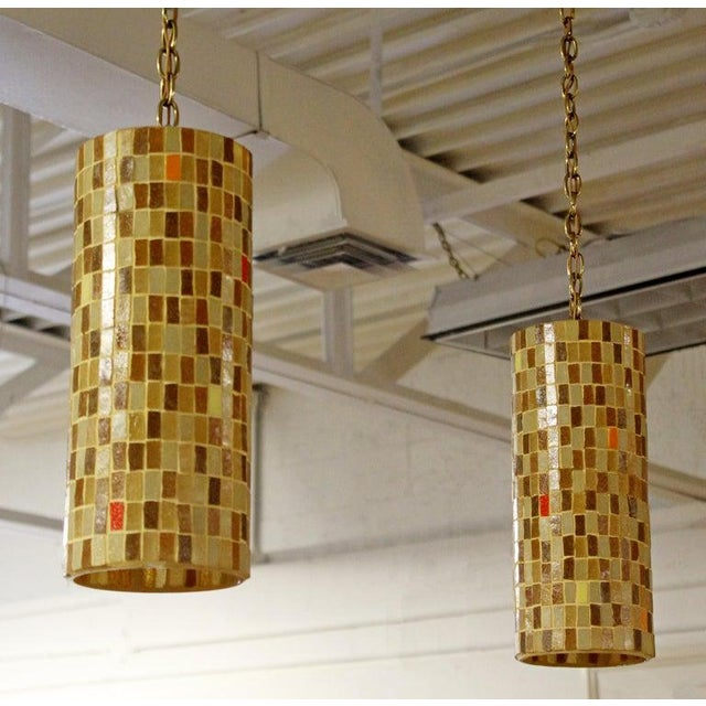 1960s Mid-Century Modern Italian Murano Glass Tile Pendant Light Fixtures - a Pair For Sale In Detroit - Image 6 of 9