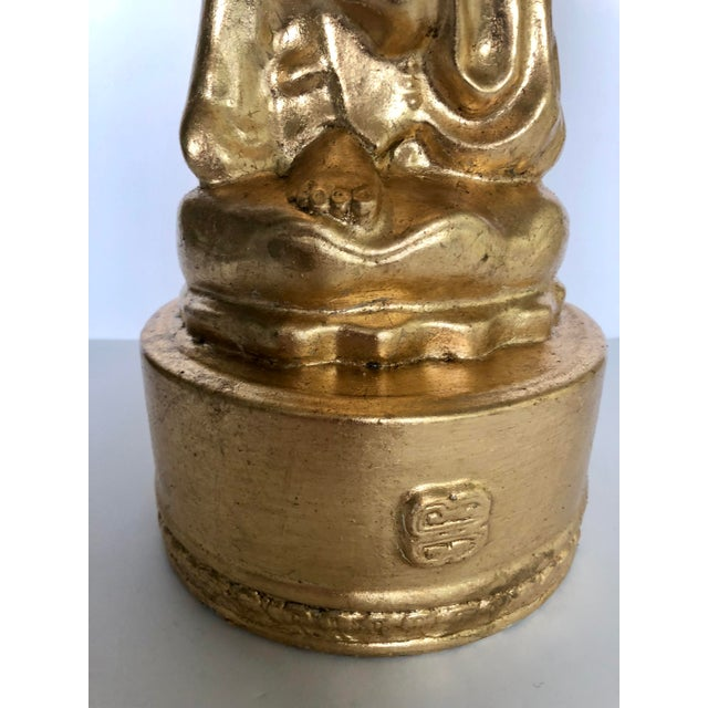Large Gold Leaf Chinoiserie Guan Yin Lamp For Sale - Image 9 of 13