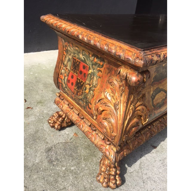 Transitional 19th Century Italian Carved Giltwood & Painted Cassone For Sale - Image 3 of 13
