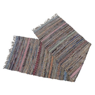 Swedish Hand Woven Rag Rug - 2′4″ × 8′5″ For Sale