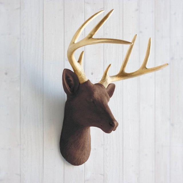 Wall Charmers Deer in Brown Chocolate + Gold Antler Faux Head Bust - Image 2 of 4
