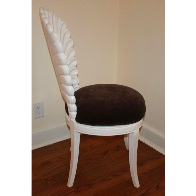 Textile Vintage Shell Back Grotto Chair, Freshly and Professionally Lacquered For Sale - Image 7 of 9