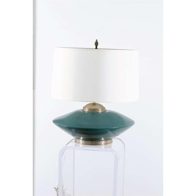 Stockmann Orno Stunning Pair of Turquoise Ceramic and Silver Lamps by Orno For Sale - Image 4 of 10