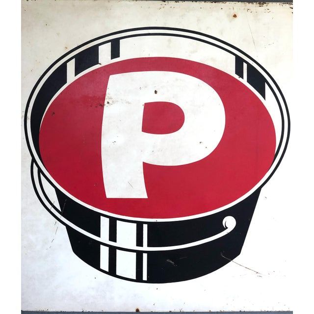 """P"" Paint Bucket sign was purchased in Georgetown, TX. It appears that it possibly could have been an old table top, but..."