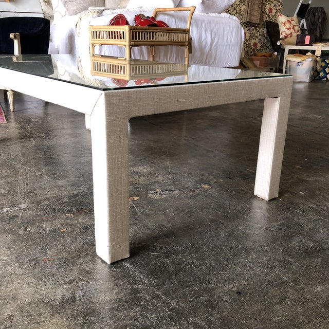 Boho Chic Sunbrella Upholstered Custom Coffee Table For Sale - Image 3 of 8