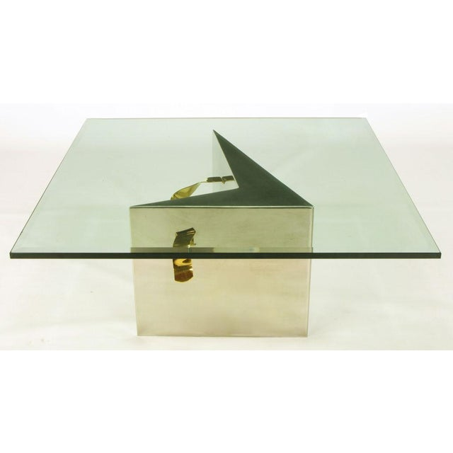 Custom Artisan Chrome, Brass, And Glass Coffee Table - Image 6 of 10