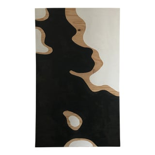 Camo Black and White Abstract Painting on Plywood For Sale