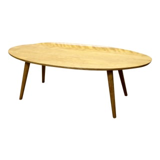 Russel Wright for Conant Ball Oval Top Curved Edge Surfboard Coffee Table For Sale