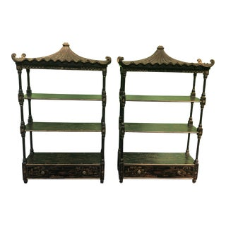 Chinoiserie Pagoda Wall Shelves-A Pair For Sale